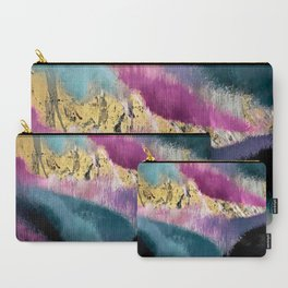 Gemini: a vibrant, colorful abstract piece in gold, purple, blue, black, and white Carry-All Pouch