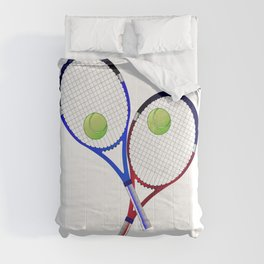 Tennis Racket And Ball Doubles Comforters