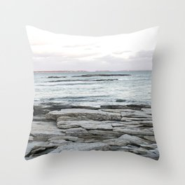 Frozen Maine Ocean Throw Pillow