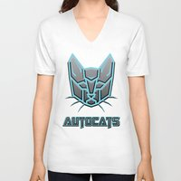 transformers V-neck T-shirts featuring Autocats Transformers by Enrique Valles