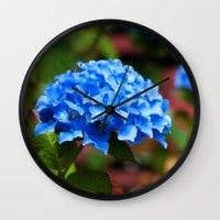hydrangea Wall Clocks featuring Hydrangea by Mark Alder