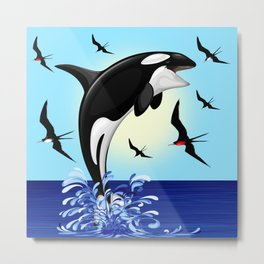 Orca Killer Whale jumping out of Ocean Metal Print