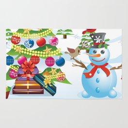 Snowman with Christmas Tree Rug
