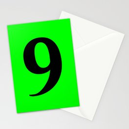 9 (BLACK & LIME NUMBERS) Stationery Cards