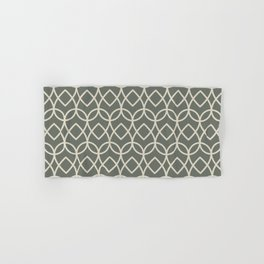 Green Buff Tan Geometric Teardrop Pattern 2021 Color of the Year Contemplative Bleached Pebble Hand & Bath Towel