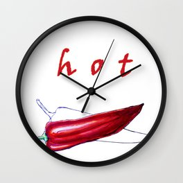 Hot . Red pepper on white background Wall Clock