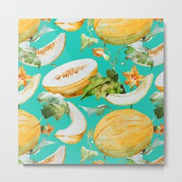 Honeydew Melon Pattern Metal Print