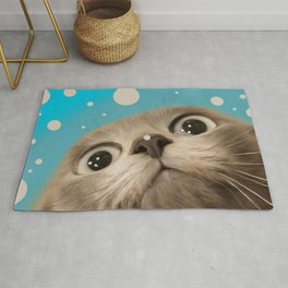 """Fun Kitty and Polka dots"" Rug"