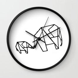 Origami Elephants (mom and baby) Wall Clock