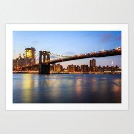 Long-exposure of Brooklyn Brigde - NYC, USA Art Print