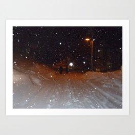 Figures in the Snow Art Print