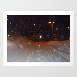 Figures in the Snow Art Print