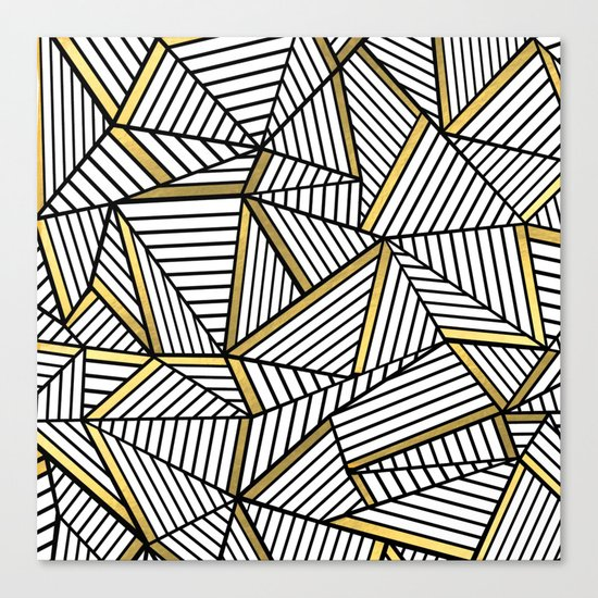 Ab Lines 2 White Gold Canvas Print