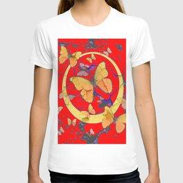 SHABBY CHIC GOLDEN BUTTERFLIES & RED ABSTRACT ART T-shirt