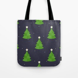 Green Christmas Tree Pattern Tote Bag