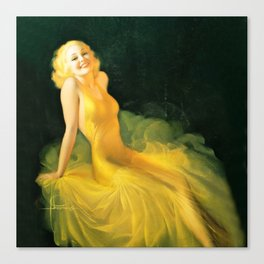 """Pinup by Rolf Armstrong """"The Yellow Gown"""" Canvas Print"""