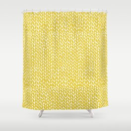 Hand Knit Yellow Shower Curtain