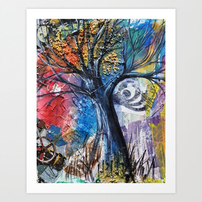 Black Ink on Rainbow Sky Art Print