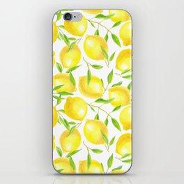 Lemons and leaves  pattern design iPhone Skin