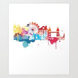 London Fun Cityscape Watercolor Art Print