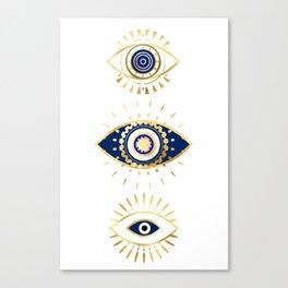 evil eye times 3 navy on white Canvas Print