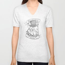 Gentleman Pig (S6 Tee) Black & Gray Unisex V-Neck