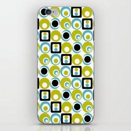 Lime Turq Black White Circles Squares iPhone Skin