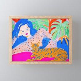 Girl Relaxing with Cat Framed Mini Art Print