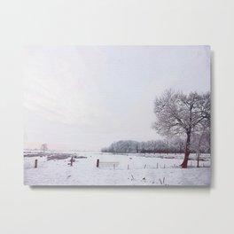 Winter landscape in the Netherlands - Digital Art Metal Print