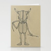 animal skull Stationery Cards featuring Bull Skull Guy Spirit Animal by Drawn by Lex