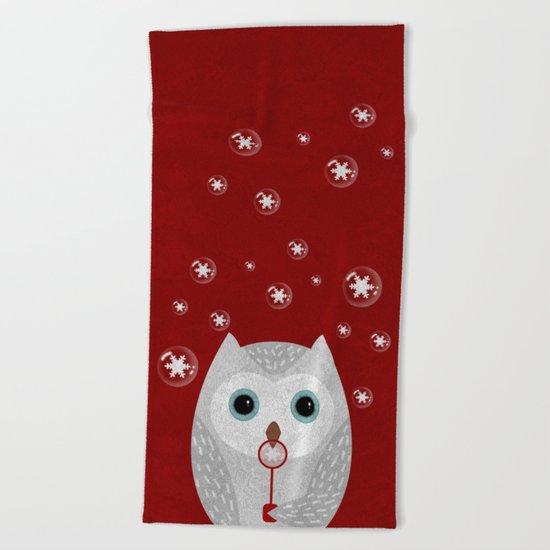 Christmas Owl Red Marble Beach Towel