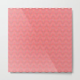 Red and White Christmas Wavy Chevron Stripes Metal Print