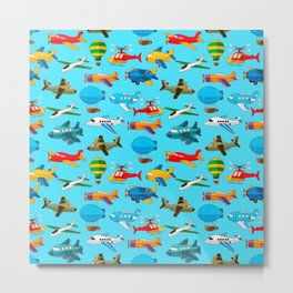 Cute Airplanes Helicopters Airships  Pattern Metal Print