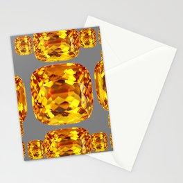 NOVEMBER GOLDEN TOPAZ FACETED GEMS GREY ART Stationery Cards