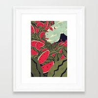 freeminds Framed Art Prints featuring Watermelon surf dream by Yetiland