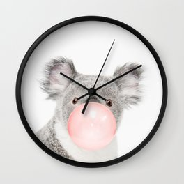 Funny koala with pink bubble gum Wall Clock
