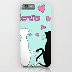 Couple cats with love iPhone 6 Slim Case