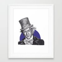 willy wonka Framed Art Prints featuring Willy Wonka by Rachel Morgan Kitti