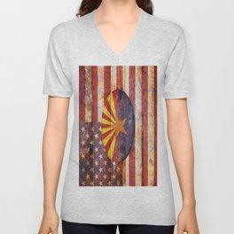 Arizona and USA flag on old wooden planks. Unisex V-Neck