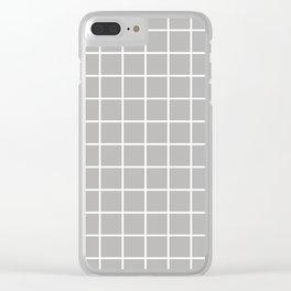 Minimalist Window Pane Grid, Dove Gray Clear iPhone Case