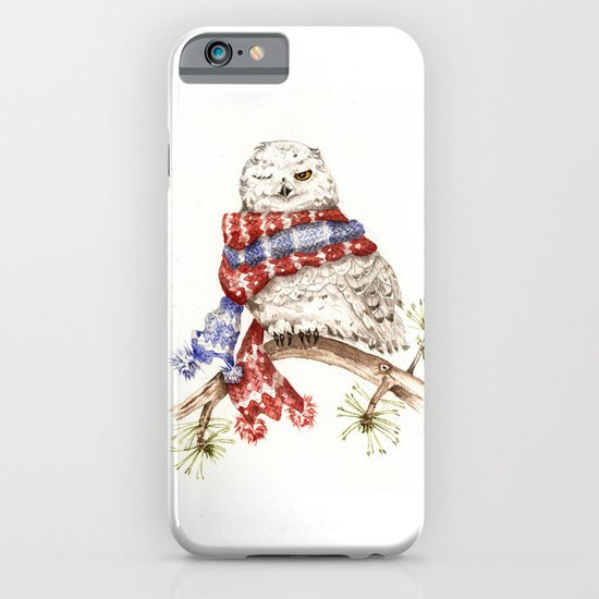 Winking Arctic Owl in Scarf iPhone & iPod Case