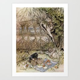 Arthur Rackham - The Wind in the Willows (1940) - Ratty and Mole at a picnic Art Print