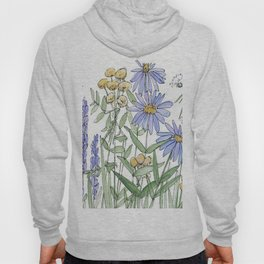Asters and Wild Flowers Botanical Nature Floral Hoody