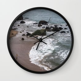 Child Running into the Ocean in California, Travel Beach Photography, San Francisco Wall Clock