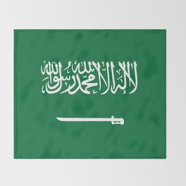 National flag of  the Kingdom of Saudi Arabia - Authentic version to scale and color Throw Blanket