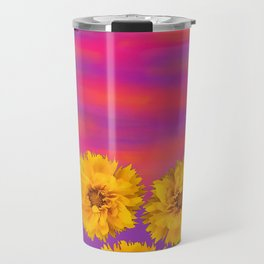 Yellow Floral Sunset Travel Mug