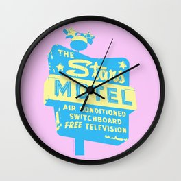 Seeing Stars ... Motel ... (Pink Background) Wall Clock