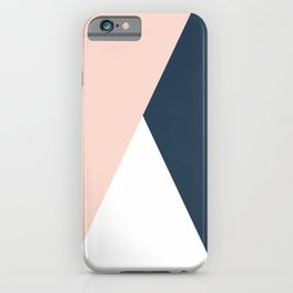 Elegant blush pink & navy blue geometric triangles iPhone Case