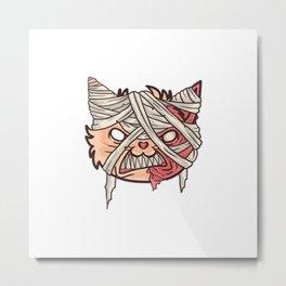 Cat Mummy Head Metal Print
