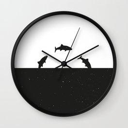 Fish print Black & White Wall Clock
